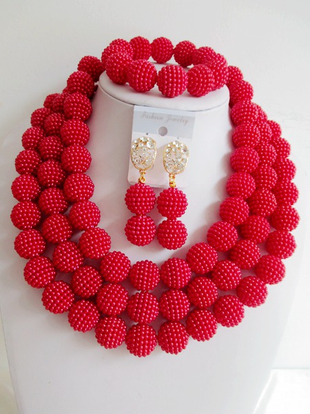 2015 Fashion nigerian wedding african beads jewelry set  african beads necklace set  Free shipping  P-4540<br><br>Aliexpress