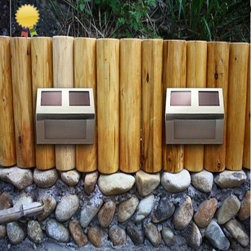2015 Solar Lamp Garden Decoration Stainless step lightings 2 Leds Solar Powered Light Sensor Light Outdoor Security Lamp white(China (Mainland))