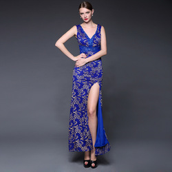 Summer Women's 2015 Sexy Slim Lace V-neck Beading Evening Dress Split Front Sleeveless Party Dresses