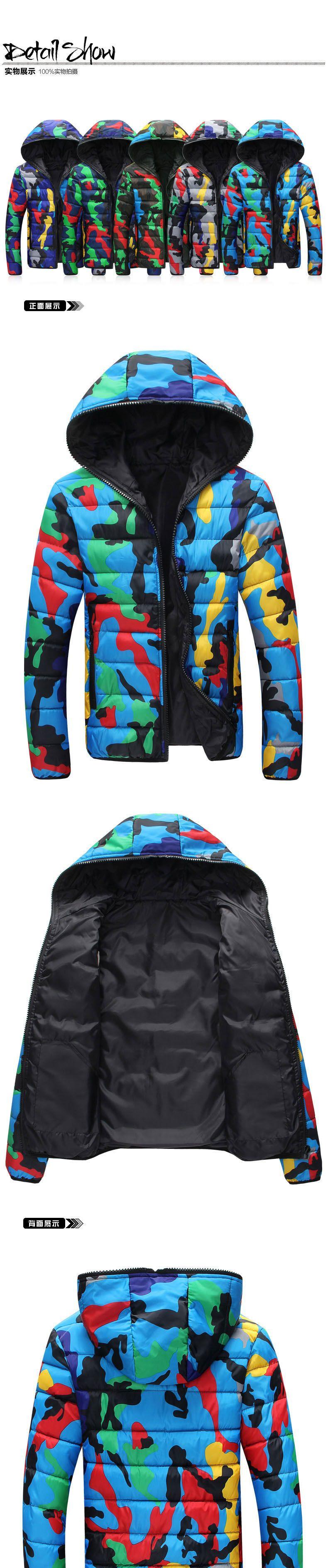 Скидки на Моды для мужчин Корейский Стиль С Капюшоном Хлопка Ватные Куртки Зима Камуфляж Парки Для Любителей На Открытом Воздухе теплый Сверхлегкий Пальто 83003
