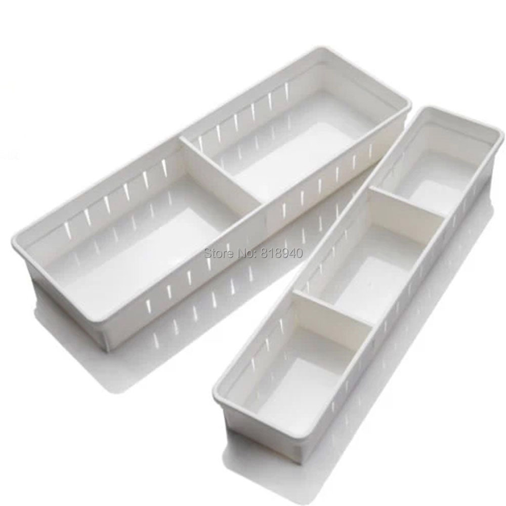 1 X Plastic Storage Box Kitchen Drawer Cutlery Organizer Unit Case Clear/White 048-3032(China (Mainland))