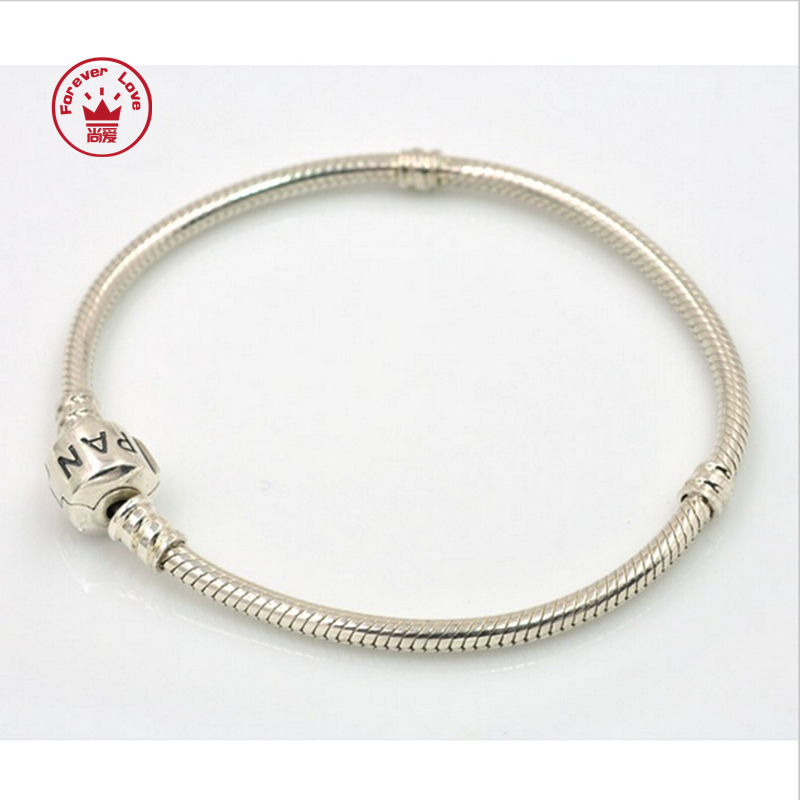 Authentic 925 Sterling Silver original Bracelets Snake Chain charm bracelet Compatible with Pandora Charm Beads diy Jewelry.L101