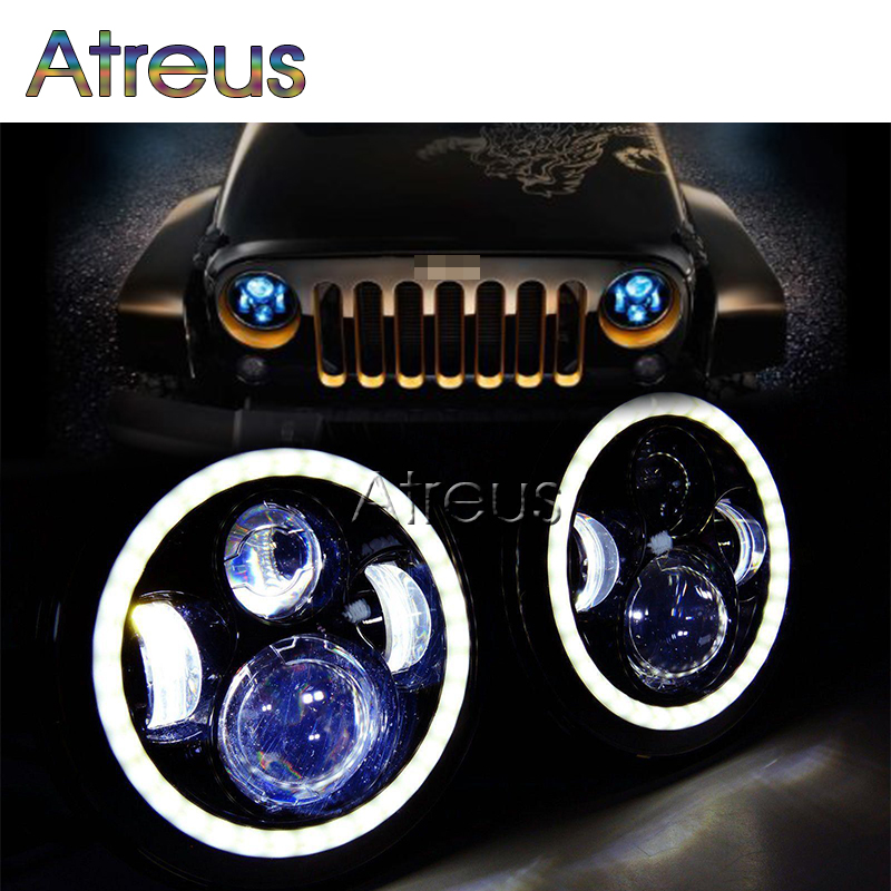 1Pair 7Inch 40W Round LED Light Car Light Source Angel Eyes Auto Headlight Assembly For Jeep Wrangler JK CJ DC10-30V Accessories(China (Mainland))