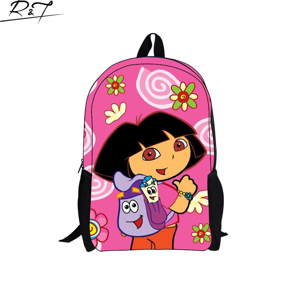 3D Printing Cartoon Dora 16 Inch Backpack Kids Drawstring School Bags Children Cartoon Bag Printing Backpacks School Backpack(China (Mainland))