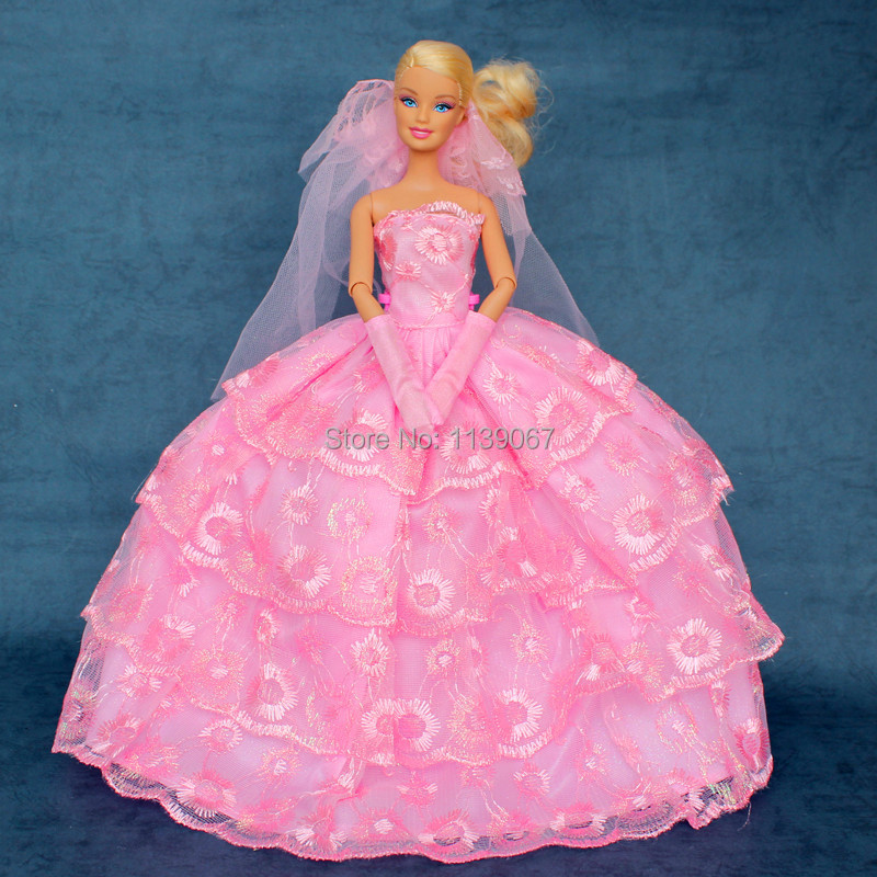 Robe + Glove + Veil / 2015 Night Celebration Pink Marriage ceremony Costume Flower Embroider Lace Outfit Garments For Bride Barbie Doll