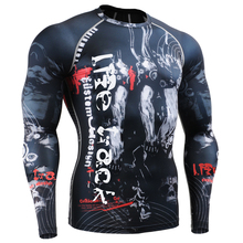 Men MMA GYM Compression Shirts Rashguard Fitness Long Sleeves 3D Prints Base Layer Skin Tight Weight Running Training T Shirts