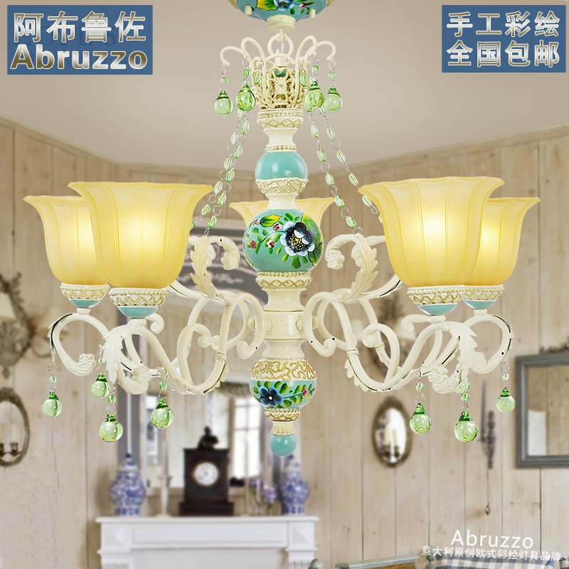 Abruzzo Jane European Mediterranean Academy of Art painted chandelier lamp European hand-painted lamps lighting garden lights(China (Mainland))