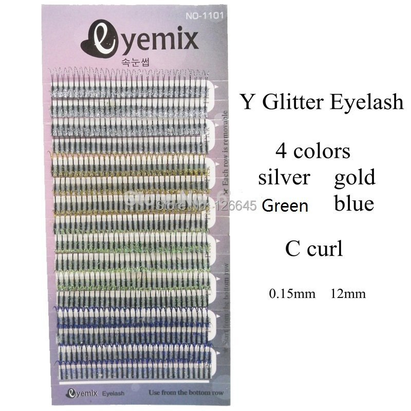 Eyemix Brand New Y Glitter Eyelash Extension 4 Colors False Individual Extensions Freeshipping - The Miss Beauty store