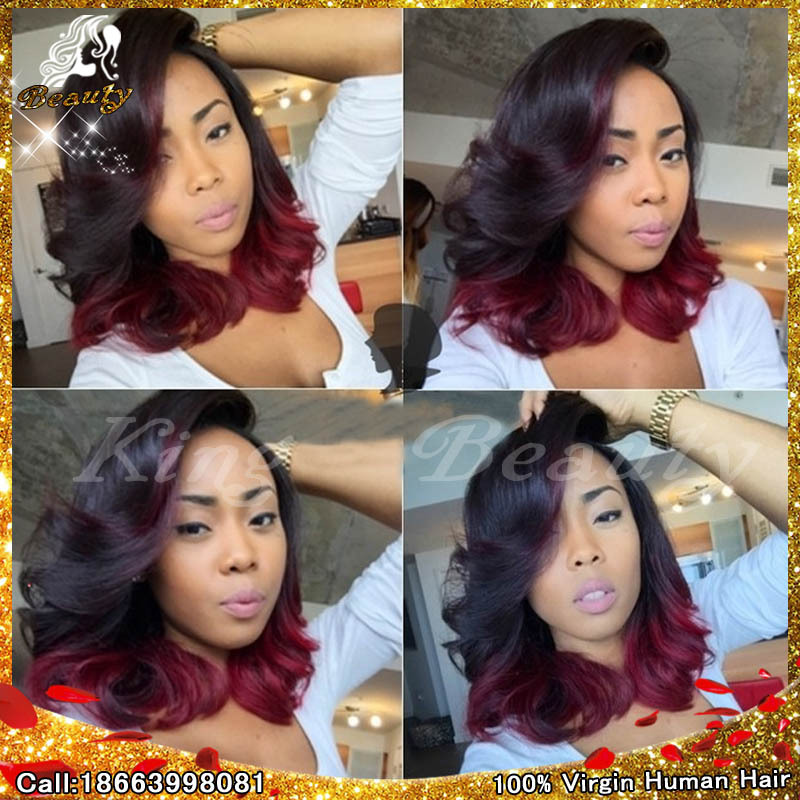 7A brazilian body wave full lace human hair wigs ombre #1b/#35 two tone glueless lace front wigs for black women with baby hair