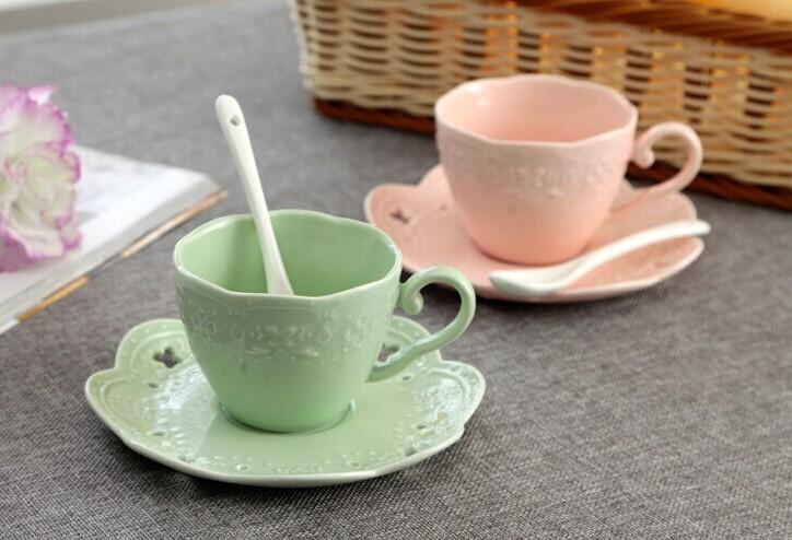 Free shipping European English style Fashion bone china coffee set fancy ceramic coffee cups top quality