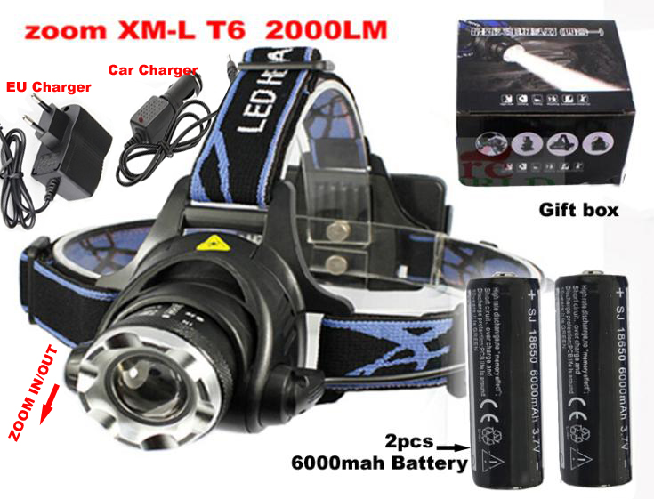 2000 Lumens Headlamp CREE XML-T6 Headlight Outdoor sports zoomable Head Lamp bikelight + 2*18650 6000MAH battery+charger+car ch(China (Mainland))
