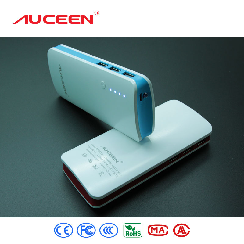 Auceen Led lighting Real 15000mah Rechargeable 3 USB external battery pack power bank charger backup for mobile phones tablet(China (Mainland))