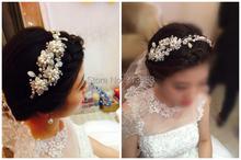 Free shipping New Design Pearl Flower Bridal Headpiece Wedding Headband head tiara Handmade