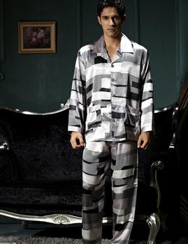 Бренд пижамы комплект для мужчин с длинным рукавом с отложным воротником эмуляции ...