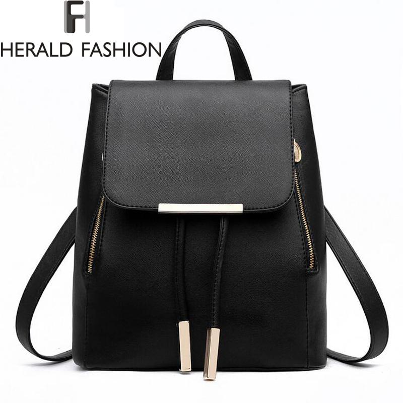 Women Backpack High Quality PU Leather Mochila Escolar School Bags For Teenagers Girls Top-handle Backpacks Herald Fashion(China (Mainland))