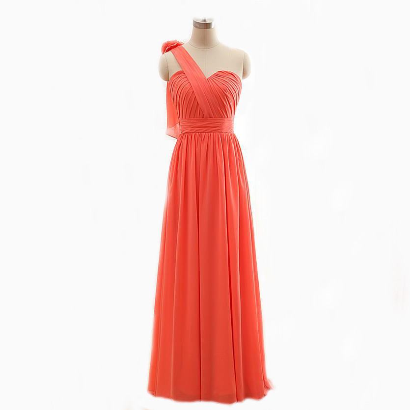 Buy popular one shoulder wrap a line plus for Plus size coral dress for wedding