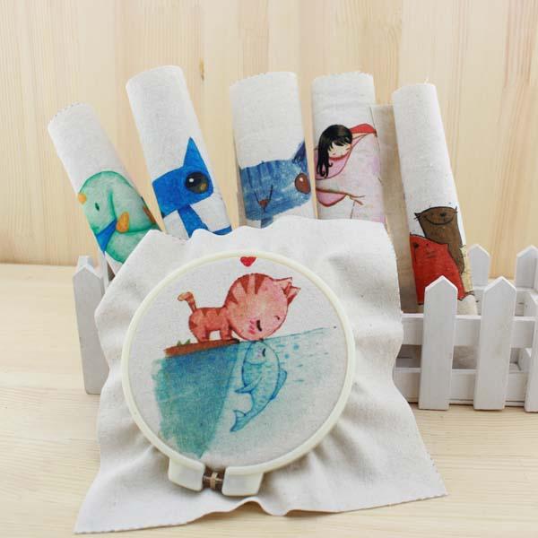 cartoon cat diy felt linen cotton fabric cloth dolls for sewing patterns handicraft printed material patchwork comic bag fabric(China (Mainland))