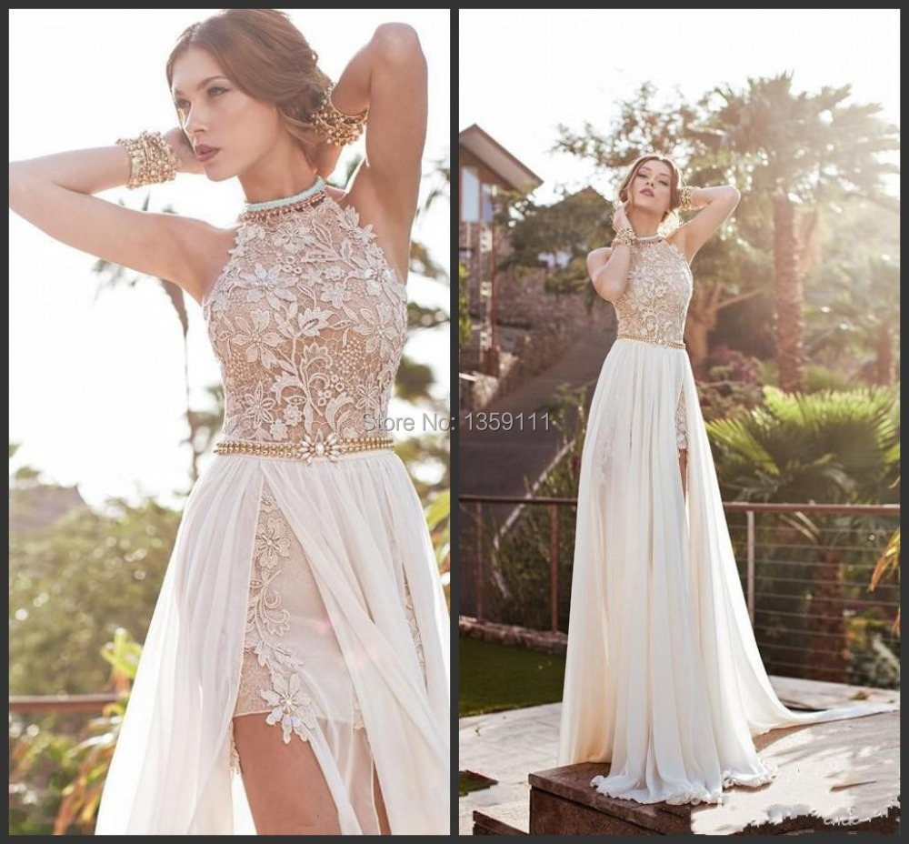 2014 Lace Chiffon Prom Dresses Halter Beaded Crystals Side Slit Backless 2015 Evening Gowns(China (Mainland))