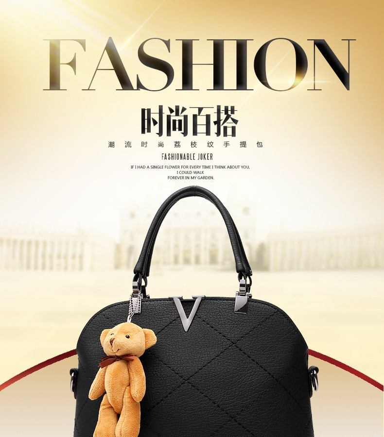 Ladies pu leather bags shell black handbags women famous brands designer sweet lady handbags high quality shoulder tote bear bag