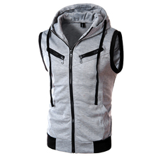 2016 New Fashion Caual Men Vest coats Hooded More Zipper College Style Knitted Silm Waistcoat Fit Cotton Vest homme LA014
