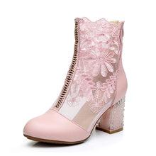 Gktinoo Nam Nữ Ren Da Bò Thật Thời Trang Xuân Hè Giày Cao Gót Mũi Tròn Giữa Bắp Chân Giày giày Plus Kích Thước(China)