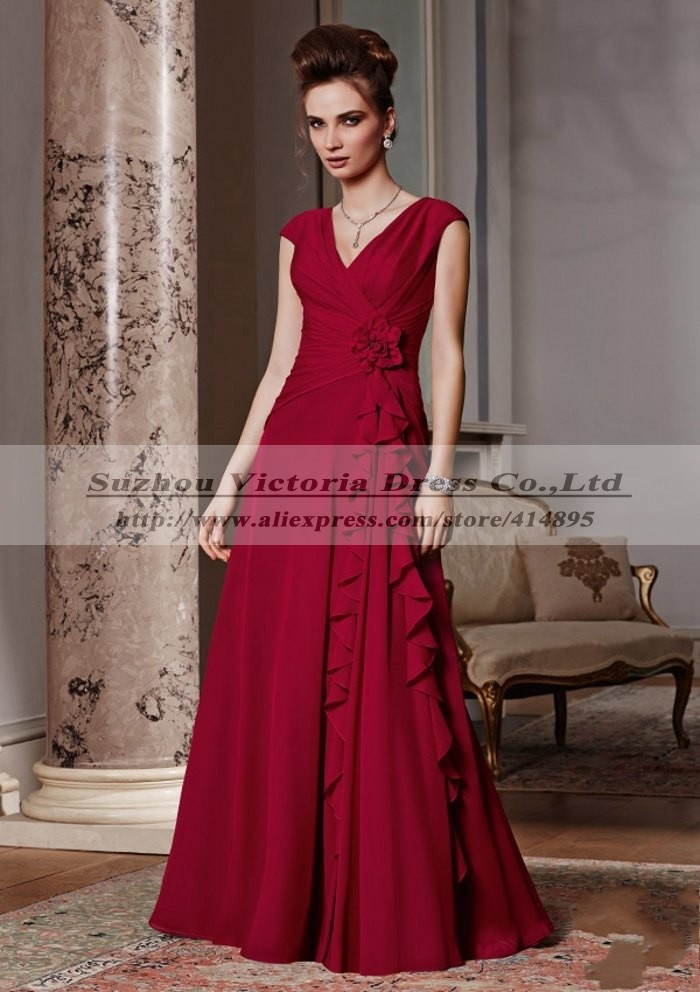 Red Simple V-line Fashion New Mother Bride Special Occasion Dresses Long Guests Elegant Godmother - Pussycat Wedding Dress Co., Ltd store