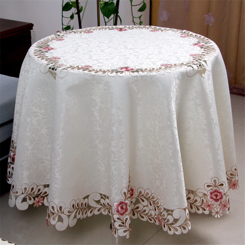 Pastoral Floral Embroidery Jacquard Satin Round Tablecloth Elegant Hand Cutwork Polyester Round Table Cloth Cover Towel for Home(China (Mainland))