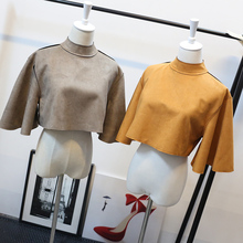 2016 New AA style women's turtleneck suede leather flare sleeve loose short high waist crop top shirt sexy poncho tops(China (Mainland))