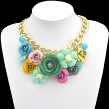 2014 New Design Gold Chain Fashion Accessories Luxury Metal Flower Resin Beads Pendants Necklaces Statement Jewelry