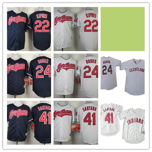 cheap Mens 22 Jason Kipnis 24 Michael Bourn Jersey Cheap Cleveland Indians 41 Carlos Santana Cool Base Baseball Jersey Stitched(China (Mainland))