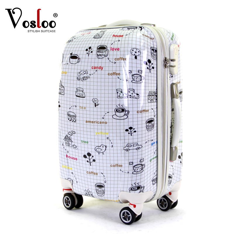 """Free shipping vosloo high quality Female universal wheels trolley luggage travel bag luggage women's ABS luggage suitcase 24""""(China (Mainland))"""