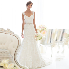 W3234 Cheap Mermaid Lace Wedding Dresses 2015 Sexy V Neck With Remove Cap Sleeves Floor Length Elegant Bridal Gowns(China (Mainland))