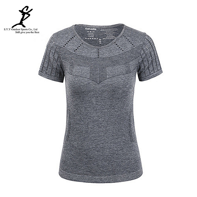 Women Quick Dry Sports Shirts Professional Running And Fitness Sweatshirts New Gym Workout Clothes(China (Mainland))