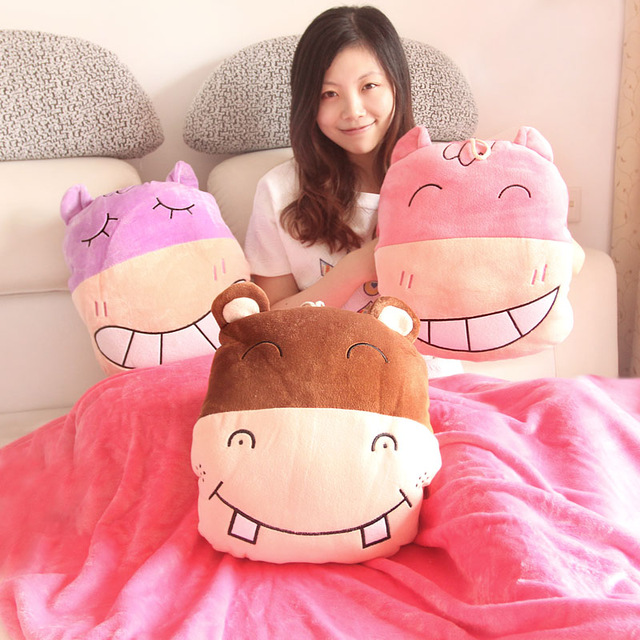 gift 1pc 180cm happy hippo soft coral velvet car air conditioning baby blanket + warm cushion creative hand warm stuffed toy(China (Mainland))