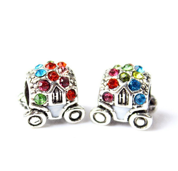 Free Shipping 1Pc European Alloy Pumpkin Car bead with Crystal charm beads Fit Pandora Bracelets & Bangles Necklaces YW15267(China (Mainland))