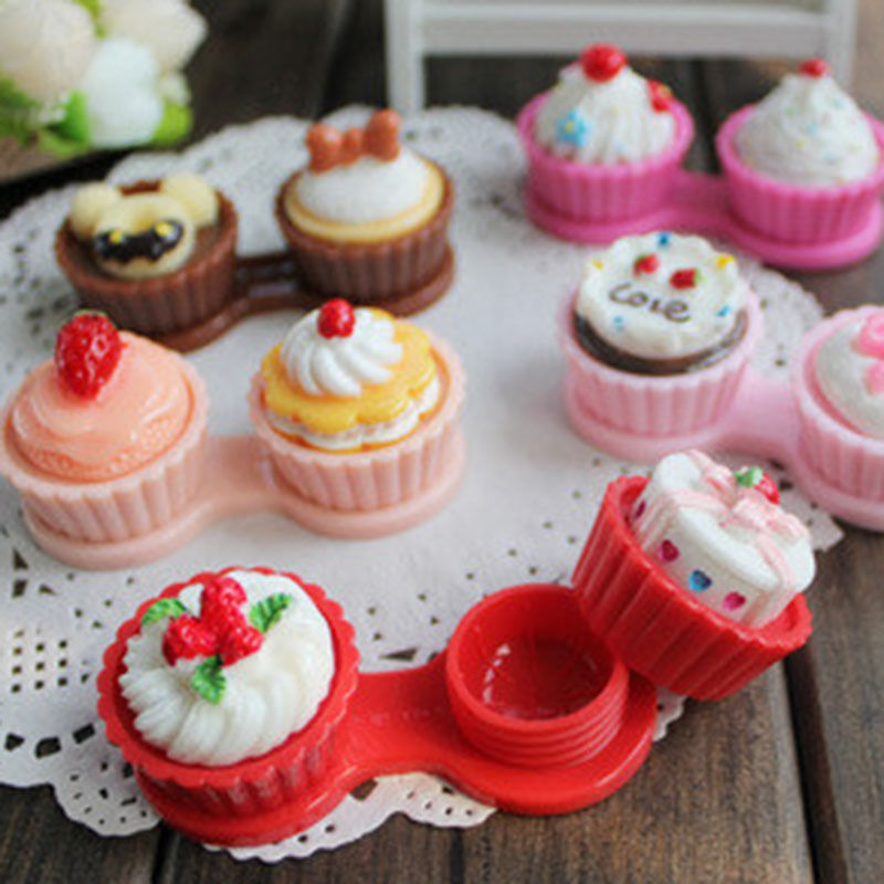 1PC Simple Travel Cartoon Cake Cream Shape Contact Lens Case Box Set Container