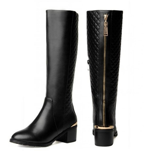 Gold zipper Genuine Leather + PU woman boots fashion knee high heel long boots winter boots women motorcycle boots,size:33-43(China (Mainland))
