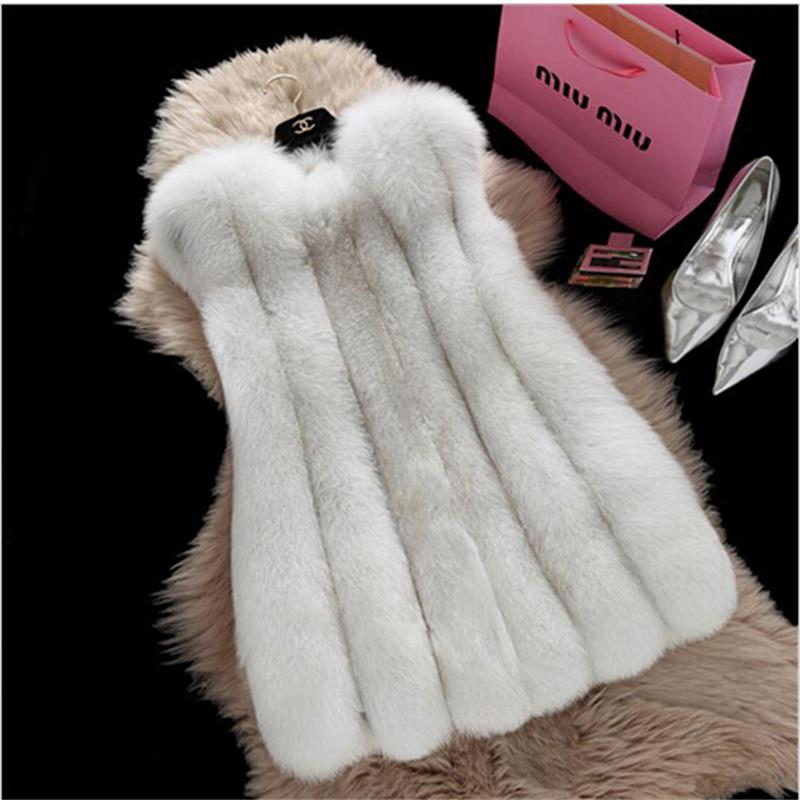 2016 latest design Women Winter Sleeveless Faux Fox Fur Leather Thick Coat Outerwear Vest Plus Size Padded Jacket Overcoat Parka(China (Mainland))