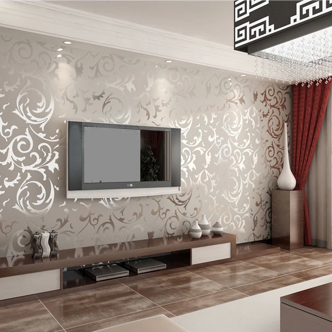 Grey living room wallpaper modern house for Grey wallpaper living room ideas