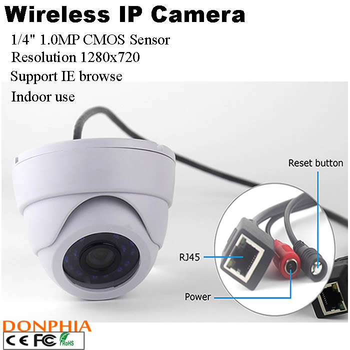 Free shipping H.264 ONVIF 720P Wireless IP Camera built-in 2db antenna Mini Web Wifi Camera support iphone Android phone browse(China (Mainland))