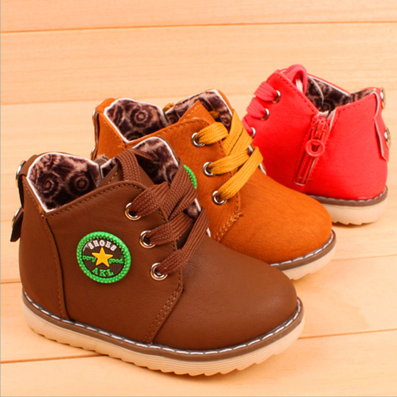 Size 21-30 New 2015 Spring Autumn Warm Ankle Kids Boots Fashion Plus Velvet Boys Girls Shoes Children Snow Boots(China (Mainland))