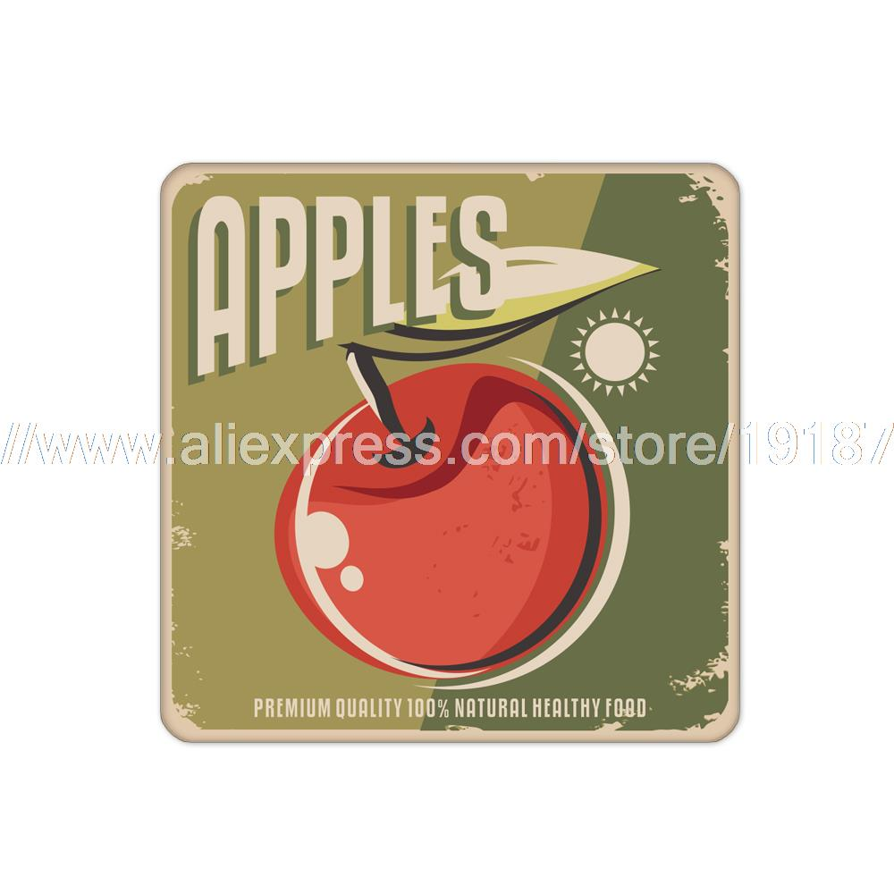 4pcs/set Fruit apple printed custom Home Table Mat Bakery Creative Decor Wholesale Drink Placemat cork cup coaster(China (Mainland))