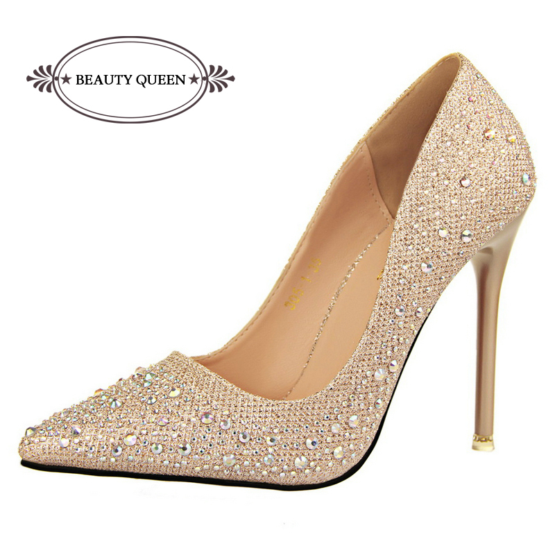 2015 New Fashion Sexy Women Silver Rhinestone Wedding Shoes Platform Pumps Red Bottom High Heels Crystal Shoes Gold Black Pink(China (Mainland))