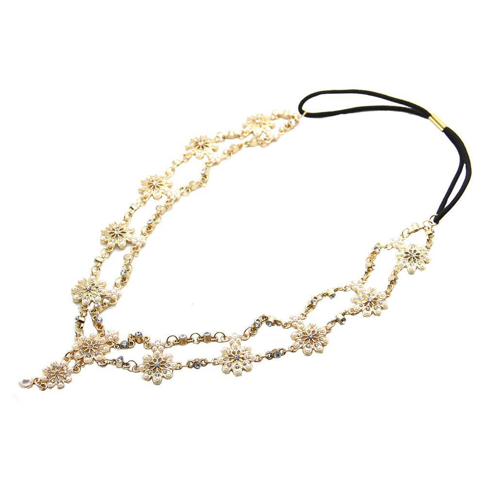 European Hot Sale Elegant Alloy Rhinestone Simulated Pearl Flowers Good Elasticity Headband(China (Mainland))