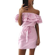 Buy 2017 Bandage Party Beach Dresses Sexy Ruffles Slash Neck Mini Dress Women Striped Dress Summer Vestidos Mujer Dress femal LYG188 for $7.19 in AliExpress store