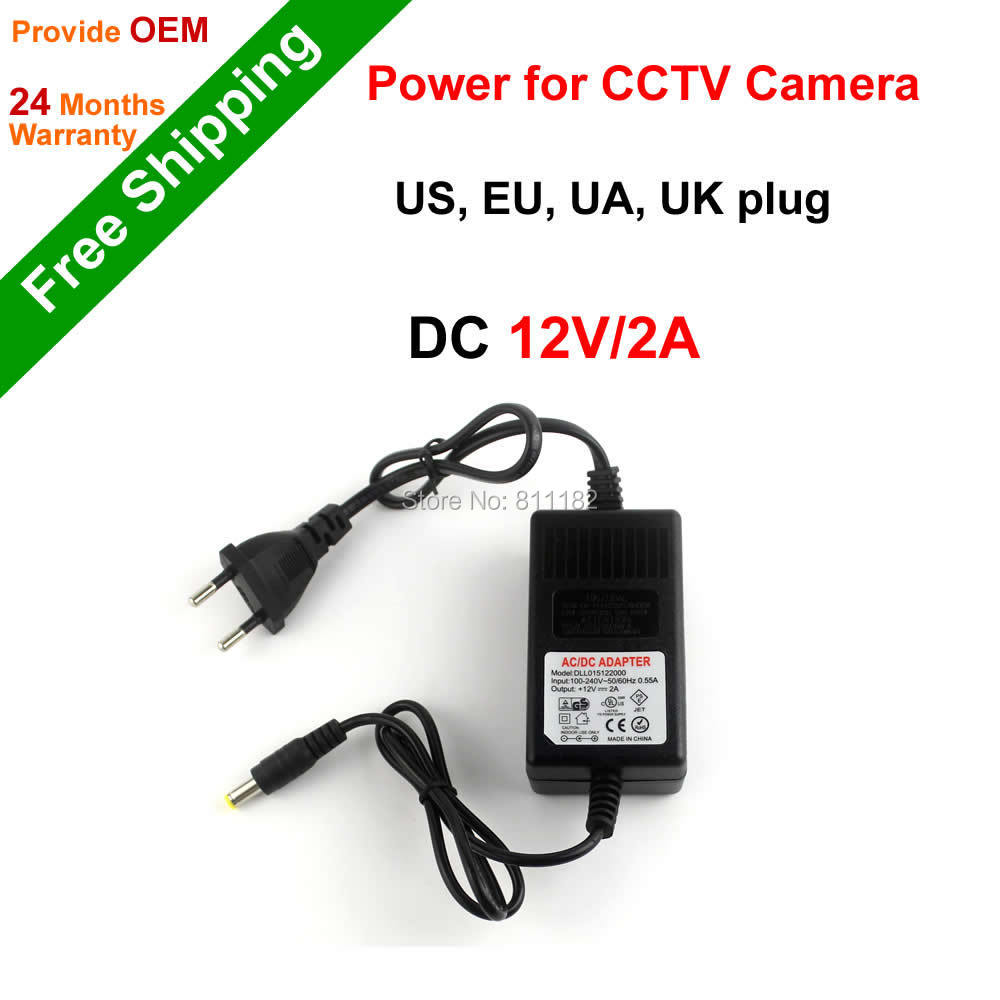 Free Shipping CCTV Accessories Power Supply DC 12V 2A Power Adapter for CCTV Camera, US, EU, UA, UK plug NGtechnic(China (Mainland))