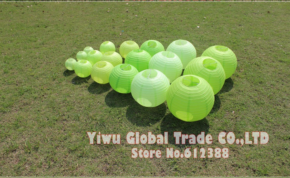 10pc 15 20 25 30 35 40cm 6 16inch light green chinese paper lantern
