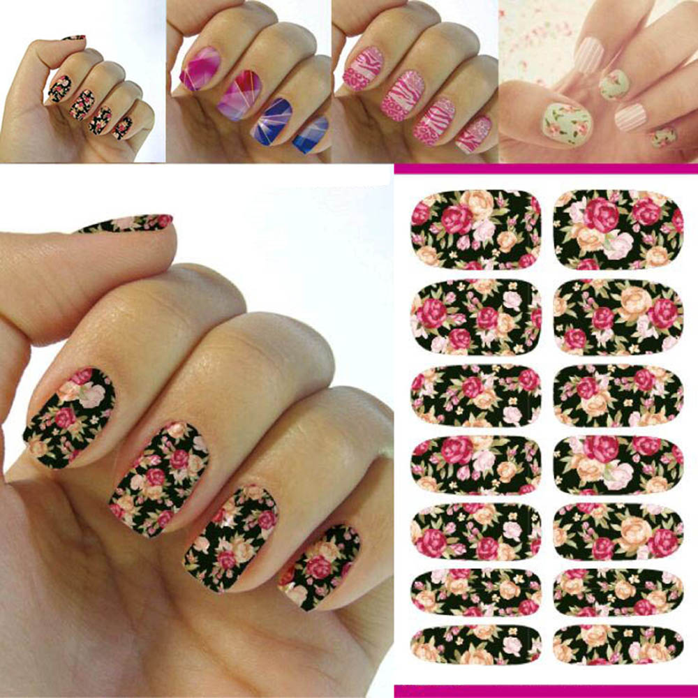 New Hot Water Transfer Nails Art Sticker Pink Red Rose Flowers Design Nail Sticker Manicure Decor Tools Cover Nail Wraps Decals(China (Mainland))