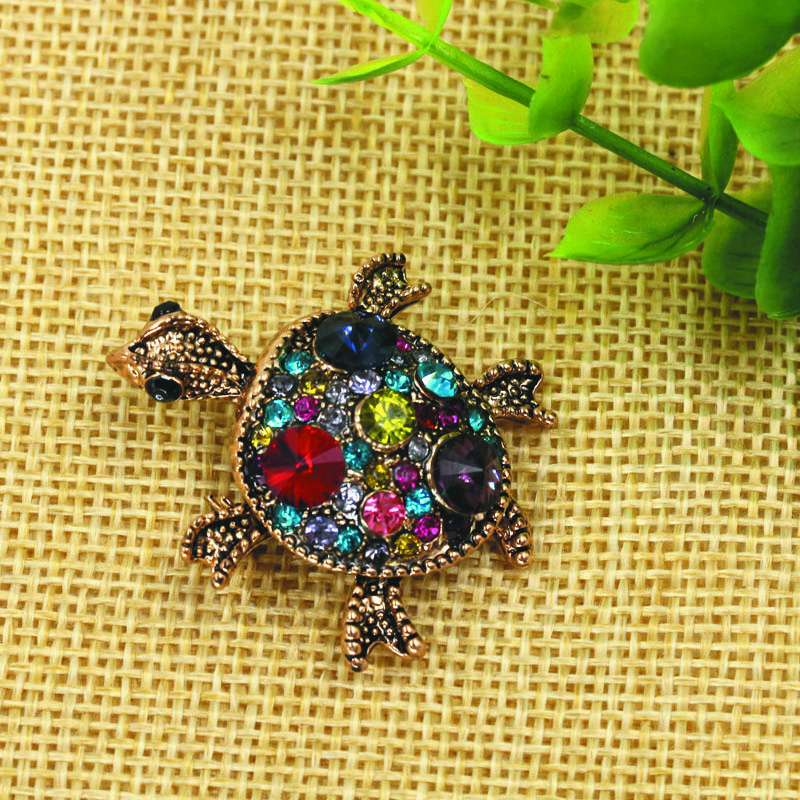 The new style high quality turtle brooch, ancient gold multicolor turtle brooch brooch fashion for women(China (Mainland))