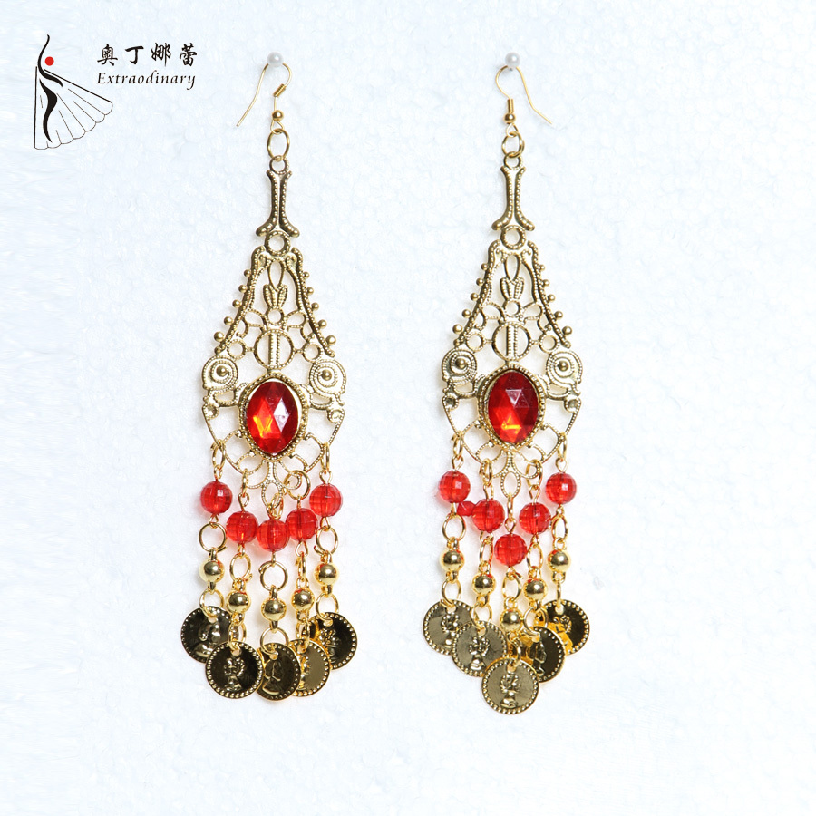 Golden Dance Earrings Indian Dancewear Gems Belly India Belly Dance Accessories(China (Mainland))